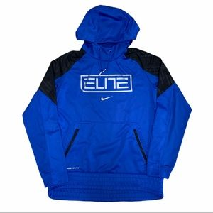 Nike Elite Therma Fit Hoodie Sz M Blue Athletic